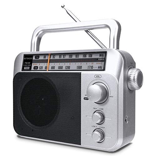 Retekess TR604 AM FM Radio, Portable Radios with Best Reception, AC or D Battery Powered Analog Radio, with Clear Dial and Large Knob, for Home(Sliver)