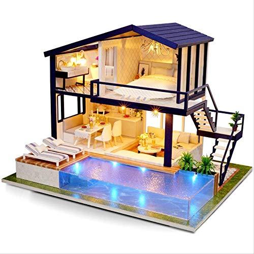 Casa De Muñecas Muebles De Madera DIY House Miniatura Caja Puzzle Ensamblar 3D Miniaturas Dollhouse Kits Juguetes para Niños Regalo De Cumpleaños