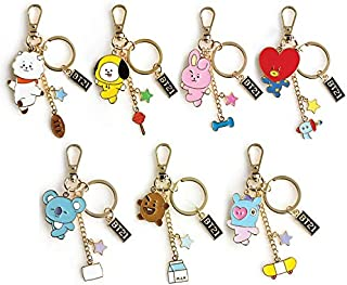 PINGJING BTS Bangtan Boys Metal Key Ring Cute Korean Version of Key Pendant Small Exquisite Jewelry (7PCS/Set)