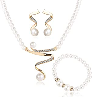 4 Pcs Vintage Simulated Pearl Jewelry Sets For Women Wedding Bridal Crystal Necklace Earrings Gold Color Bracelet African Set