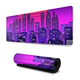 Night City Landscape at Purple Neon Retrowave Gaming Mouse Pad XL, Extended Large Mouse Mat Desk Pad, Stitched Edges Mousepad, Long Non Slip Rubber Base Mice Pad, 31.5 X 11.8 Inch