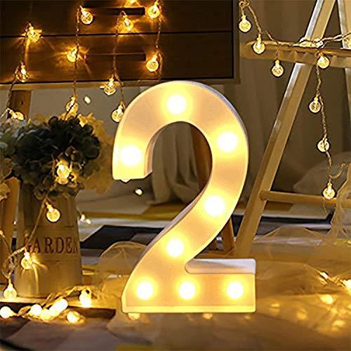 LED Zahlen Lampe Nummer Beleuchtete Ziffern 0 bis 9,Led dekoration für Geburtstag Party Hochzeit & Urlaub Haus Bar (2)