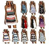 Meitianfacai Summer Pocket Dresses for Women Casual V Neck Sleeveless Spaghetti Dress Drawstring Mini Dress Sling Tube Dress
