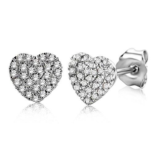 Miore - Pendientes para mujer de 0,26 ct, con forma de corazón de 52 diamantes, oro blanco de 9 quilates / 375