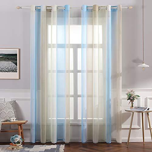 MIULEE Sheer Vorhang Voile Farbverlauf Dekoschal Vorhänge mit Ösen transparent Gardine 2 Stücke Ösenvorhang Gaze paarig Fensterschal für Wohnzimmer 175 cm x 140 cm(H x B) 2er-Set Blau + Kaffee