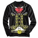Viva Mexico Men's Mexican Mariachi Charro Cinco de Mayo Costume Longsleeve T-Shirt XXX-Large Black
