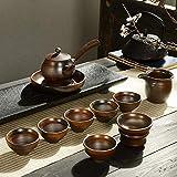 XYSQWZ Set da tè in Pentola con Manico Laterale in Legno A Legna Disegnato A Mano Set da tè retrò in Gres Confezione Regalo - Set da tè Zen A Legna da Ardere 11 Pezzi