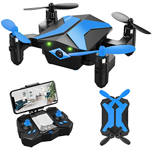 Drone for Kids - Attop Drones with Camera for Kids, AR Game Mode RC Mini Drone w App Gravity Voice Control Trajectory Flight Altitude Hold 360°Flip Kids Drone Foldable and Portable-Blue