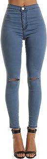WSPLYSPJY Women's Mid Waist Tights Denim Getting Ripped Holes Leggings Long Pants Jeans
