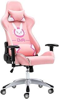 Waniyin Silla de ordenador para comprar juego E-Sports Home Computer DVA rosa Racing Dormitorio Anclaje giratorio oficina (color: rosa)