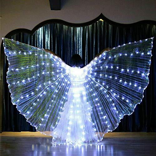 Ganquer Barra para danza del vientre, luz para escenario, 360 grados de rendimiento, con forma de capa de alas LED que te hacen como una mariposa, Blanco, Tamaño libre
