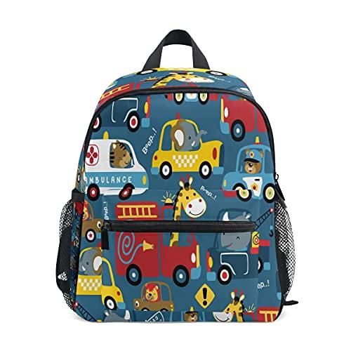 Mochila infantil para niñas y niños, diseño de animales de coche, mochila escolar con correa para el pecho y soporte para botellas, mochila para guardería preescolar, ligera