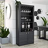"""Entertain your guest with this spectacular 69"""" High Bar cabinet Wine Glass Rack with 10 pc capacity Five Liquor Bottle Cubbies Three open Shelves and a Spacious Cabinet for Storage and Display 3 Year Warranty."""
