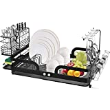 ROTTOGOON Dish Drying Rack, Stainless Steel Dish Rack, Foldable Dish Drainer with DetachableDrainboard, Utensil Holder and Cup Holder for Kitchen Counter, Black