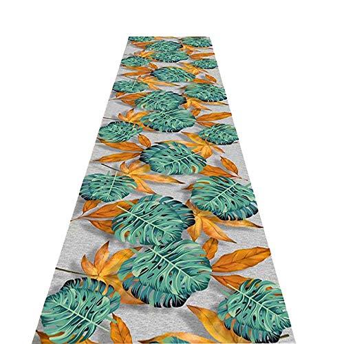 alfombra De Pasillo Alfombras De Terciopelo Brillante para El Pasillo De La Sala De Estar, Alfombras De Corredor Fáciles De Limpiar con Respaldo De Goma Antideslizante, Alfombras De Hojas Modernas Ver