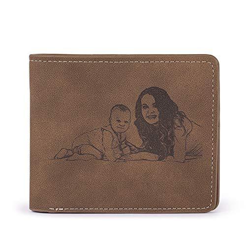 Cartera Hombre, Alskafashion Personalizada para Billetera Hombres, Carteras de Fotos Personalizadas, Cartera de Tarjetas de Bloqueo RFID para el Regalo del día del Padre (Bosquejo marrón Claro