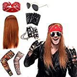 SPECOOL Rockstar 90s Heavy Metal Rocker Costume Punk Gothic Kit 70s 80s 90s con Peluca, Guantes Punk, Gafas de sol, Pañuelos, Pulsera Cuero Calavera, Cubierta Mangas Tatuaje Falso Brazo
