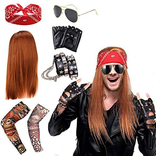 Costume Rocker Années 90 en Métal Lourd Punk Gothic Kit Années 70 Années 80 Années 90 Gants Punk, Lunettes Soleil, Bandana, Crâne Bracelet Cuir, Manchon Faux Tatouage