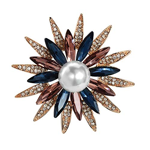 Mamfous Rose Gold Austrain Crystal Geometry Flower Brooch for Women with Simulated Pearl Bouquet Jewelry Accessories (Rose Gold)
