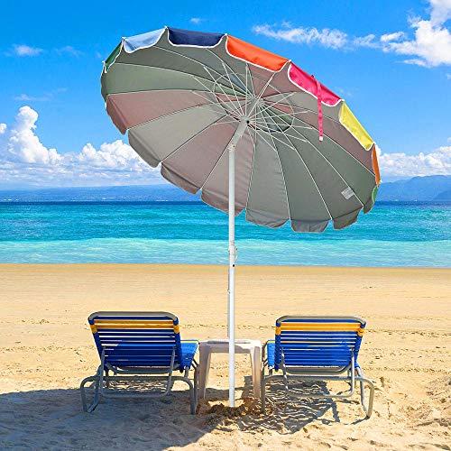 Guarda-chuva de mesa de metal arco-íris para pátio Yescom 16 canelados inclinados para o mercado guarda-chuva para uso ao ar livre proteção solar âncora de areia
