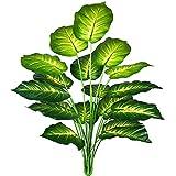 AIVORIUY Plantas Artificiales Hoja de Palmera Fake para Exterior Interior, Verde Artificial Monstera Deliciosa Árbol Ramas Falso Plastic Greenery Tropical Arbustos Decoracion para Macetas Casa Garden