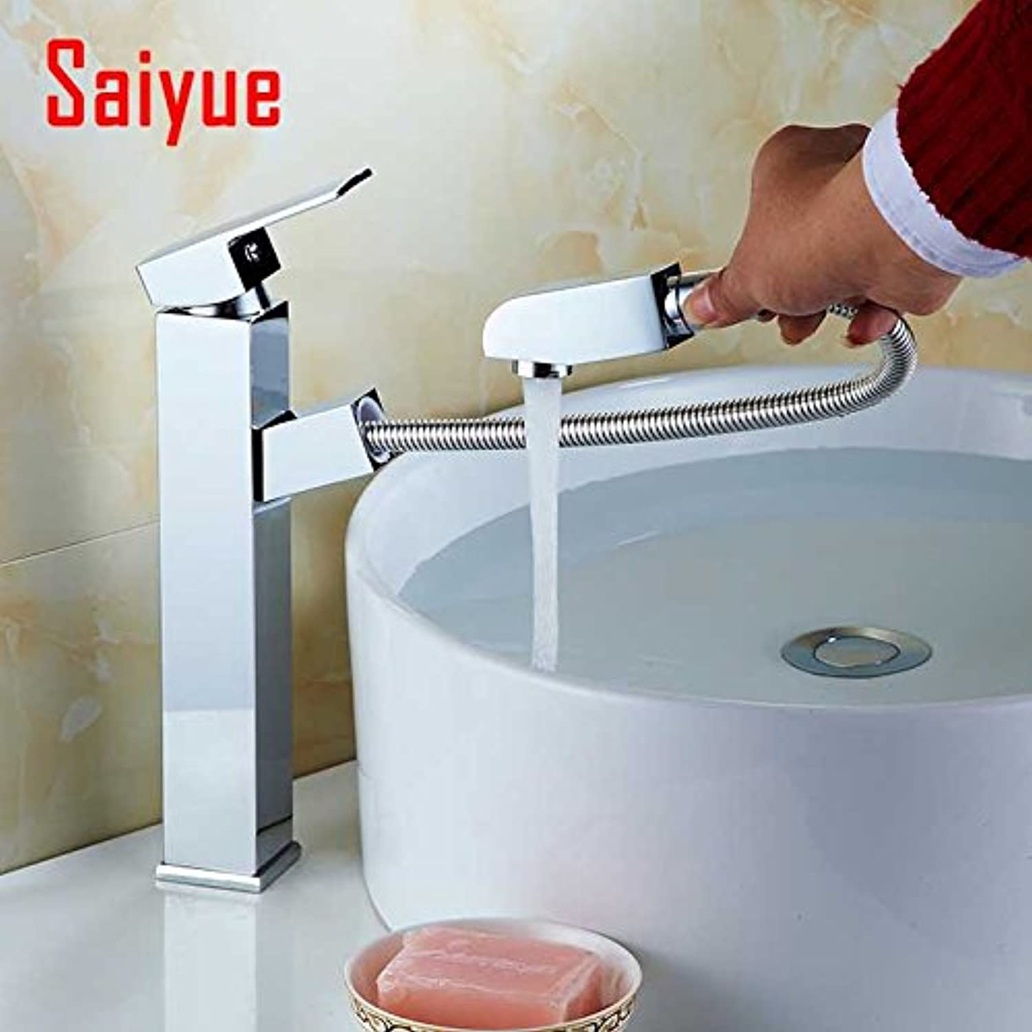 Maifeini Washbasins Mixer Pulled Out Of The Water Copper Fittings Polished Chrome Plated Bathroom Sink Tap