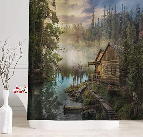 EdCott Naturlandschaft Seeufer Häuschen Zauberwald Holz Holzhaus Kiefer Muster Zimmer nach Hause leicht zu Duschvorhang für Badezimmer Hotel Vorhang zu reinigen