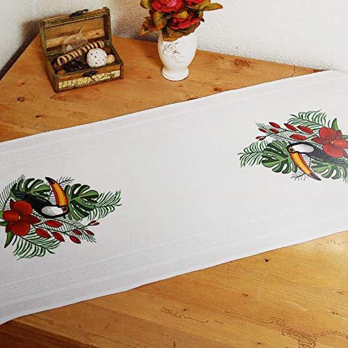 Kamaca Stickpackung Tischdecke TUKAN Stielstich Plattstich Nadelmalerei vorgezeichnet aus Baumwolle Stickset mit Stickvorlage (Tischläufer 40x100 cm)