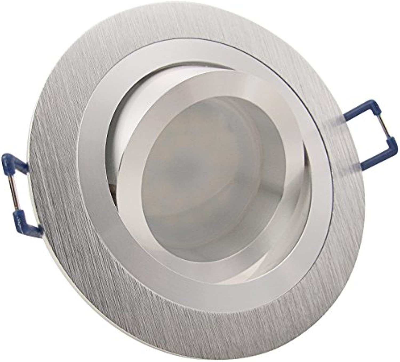 5er Set (3-8er Sets) Einbaustrahler NOBLE 2 Aluminium 230V Deko SMD LED 1,2 Watt (dekorativ) Kalt-Wei Decken Einbauleuchte drehbar schwenkbar