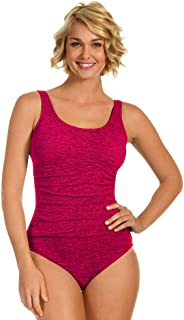 Krinkle Plus Size Shirred One Piece Chlorine Resistant Swimsuit Berry 22W Pink
