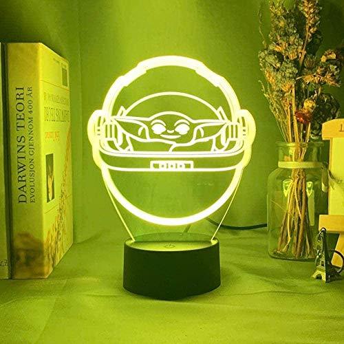 Dalovy Festival Lámpara de Ilusión 3D Luz de Noche Led Niños Baby Yoda en Su Carrera para la Habitación de Los Niños Decorativo USB con Pilas Regalo Decoración de la Habitación de Los Niños