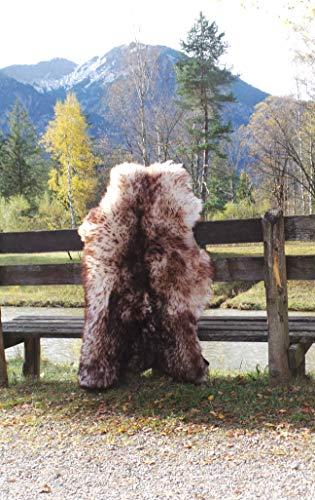 Felltrade Merino Schaffell Lammfell Fell echt groß 120-130 cm weiß-braun geflammt ökologische Gerbung