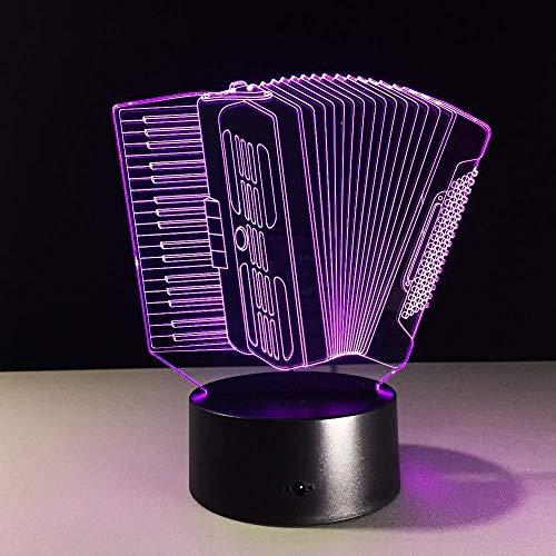 3D Nachtlicht 16 Farben Berührungssteuerung Zuhause Dekor Tischleuchte Musikinstrument Akkordeon