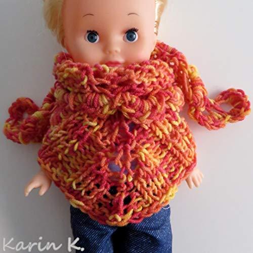 Puppenschal, Dreiecktuch in Orange, Gelb und Rot in wunderschönem Farbverlauf Basislänge: 50 cm