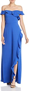 BCBG Max Azria Womens Off-The-Shoulder Ruffled Formal Dress