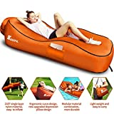 SEGOAL Ergonomic Inflatable Lounger Beach Bed Camping Chair Air Sofa Couch Hammock with Pillow, Waterproof Anti-Air Leaking Single Layer Nylon Fabric for Hiking Travel Beach Park, No Pump Required