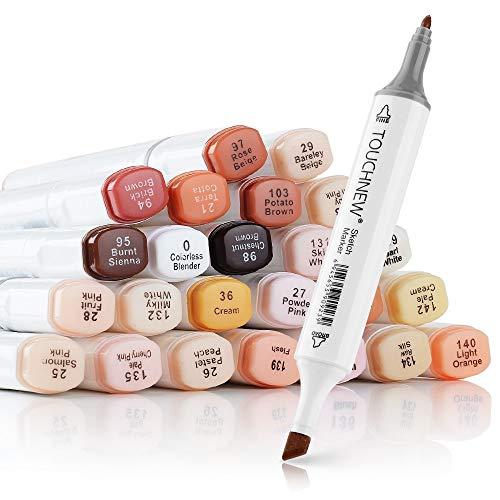Touchnew - Set di 24 pennarelli colorati sfumabili a base di alcool, set di colori nei diversi toni della carnagioni, per ritratti, illustrazioni e disegni