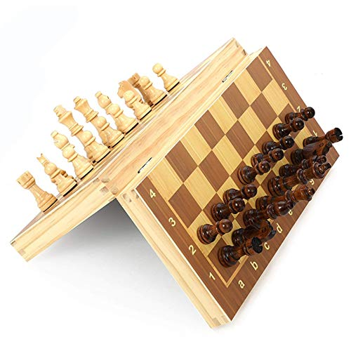 Aocean Wood Chess Wood Folding Magnetics Log Chess Wooden Folding Chess Set Game Chess Board 39cm*39cm Festival Children Gift Game