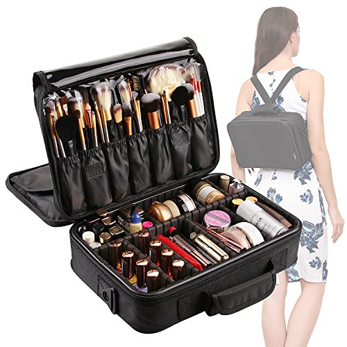 VASKER Large Makeup Case 3 Layers Makeup Bag Organizer Professional Waterproof Travel Cosmetic Case Box Portable Train Cases Black Brush Holder with Adjustable Divider Gift for Women