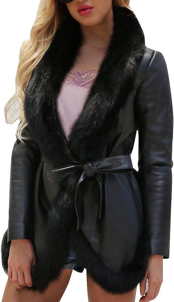 Clearance Forthery Women's Faux Leather Warm Biker 100% quality warranty! Fur Ja Winter 1 year warranty