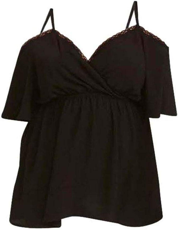 Noah & Paris Women's Plus Size Lace Trimmed Cold Shoulder Surplice Top Black