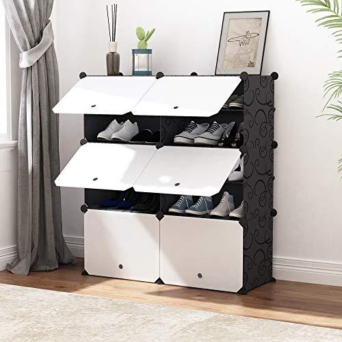 JOISCOPE MEGAFUTURE Torre organizadora de almacenamiento de zapatos portátil, gabinete modular para ahorrar espacio, zapatero ideal...
