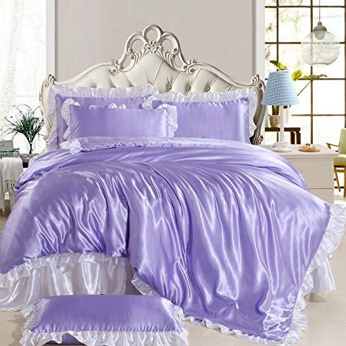 yaonuli Tencel vierteilige Seide Ice Silk Bettbezug Bettwäsche schneeblau weiß 2,2 Bettbezug Bettbezug 220 * 240, Bettwäsche 250 * 270, Kissenbezug 48 * 74 Zwei