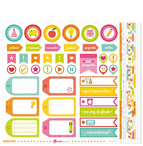 Anita y Su Mundo Colección Me Organizo Papeles de Scrapbooking, Paper, Multicolor, 30.5 x 30.5 cm