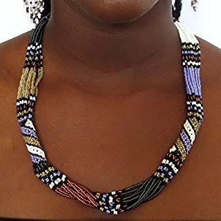 African Zulu beaded short necklace – Purple/white/gunmetal - Gift for her