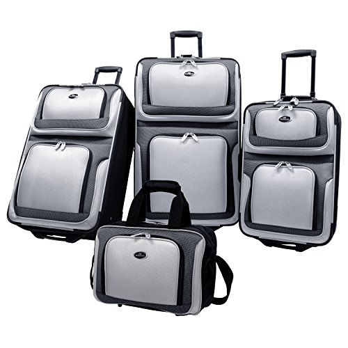 U.S. Traveler New Yorker Lightweight Expandable Rolling Luggage, Grey, 4-Piece Set