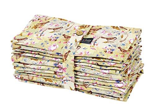 S4Sassy Amarillo Pajaro Flex Algodón Anapkins Servilleta De Tela Impresa Caída Servilletas Decorativas 18 x 18 Pulgada - Paquete de 12
