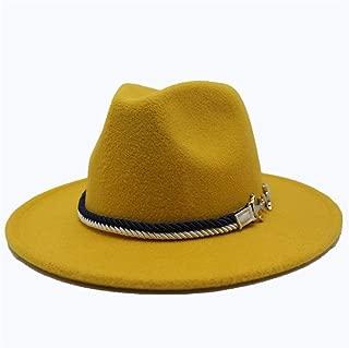 SGJFZD Men's Women's Wool Fedora Hat Autumn Trilby Hat Wide Brim Hat Church Jazz Hat Fascinator Cap Size 56-58CM (Color : Yellow, Size : 56-58)