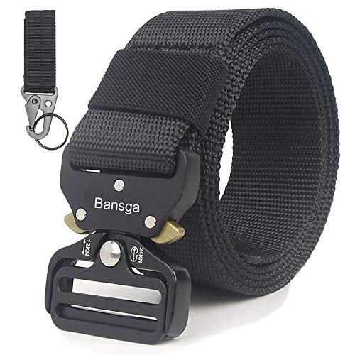 Taktischer Gürtel,Heavy Duty verstellbare Military Style Nylon Gürtel mit Zink Legierung Schnalle, militärischen Schnellverschluss Schnalle Taillenband (B-schwarz)