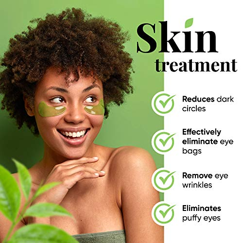 51MS8H+ZIzL - Under Eye Mask – Under Eye Bags Treatment, Moisturizes With Green Tea Anti-Aging Effect, Eye Mask for Puffy Eyes, Matcha Extract Under Eye Gel Pads For Dark Circles Reducing